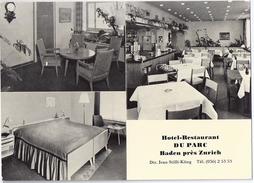 BADEN: Hotel-Restaurant Du Parc, 3-Bild-Werbe-AK ~1960 - AG Argovie