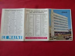 Calendrier De Poche Publicitaire 1968 LE MANS Journal LE MAINE LIBRE  Photo  Place De L Eperon Vehicules Voiture SARTHE - Petit Format : 1961-70