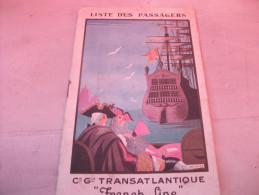 Livret Liste Passagers Paquebot France Années 20 - Autres