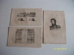Lot De 3 Gravures:BERNADOTTE Roi De Suède, Monument De CLOVIS Et De Ses Fils,anciennes Sépultures - Estampes & Gravures