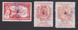 El Salvador, Scott #694-696, Used, Map Of Chalatenango And Arms Of Nuecva San Salvador Surcharged, Issued 1957 - El Salvador