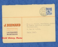 Enveloppe Ancienne - LAUSANNE / MONTREUX - J. Diemand , Installations Sanitaires -1946 - Gebraucht