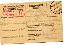 Guerre 14 18  KRIEGSGEFANGENENSENDUNG Prisonnier LIMBURG    .....G - 1914-18
