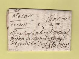 De Crest (manuscrit) - Courrier De 1731 Adresse A Un Garde Royal A La Cour - Marcophilie (Lettres)