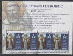 VATICAN ,2015,MNH, SAINTS, SAN COLOMBANO DI BOBBIO, SHEETLET  OF 4v - Religions