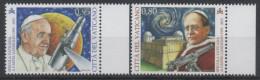 VATICAN ,2015,MNH, 80TH ANNIVERSARY OF THE VATICAN OBSERVATORY IN  CASTEL GANDOLFO, TELESCOPES, POPES,2v - Astrology