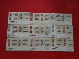 Italia Italy Italie Lotto 9 FDC Navi Ship Schiff 1977-78-79-80 Con Timbri Filatelici - FDC