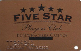 Bullwhackers Casino Black Hawk, CO Bronze Slot Card - Black Stars - Location Blacked Out - Casino Cards