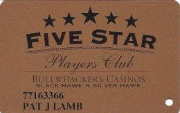 Bullwhackers Casino Black Hawk, CO Bronze Slot Card - CCS Over Mag Stripe - Printed Name - Casino Cards
