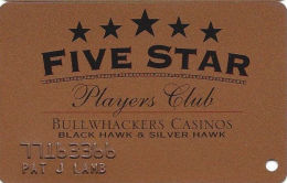 Bullwhackers Casino Black Hawk, CO Bronze Slot Card - CCS Over Mag Stripe - Embossed Player - Casino Cards