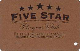 Bullwhackers Casino Black Hawk, CO Bronze Slot Card - CCS Over DARK Mag Stripe  (BLANK) - Casino Cards