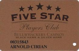 Bullwhackers Casino Black Hawk, CO Bronze Slot Card - CCS Over DARK Mag Stripe - Casino Cards