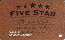 Bullwhackers Casino Black Hawk, CO Bronze Slot Card - ACC Over Mag Stripe - Casino Cards