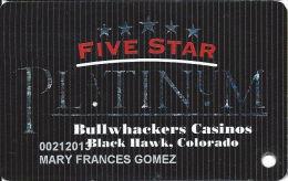 Bullwhackers Casino Black Hawk, CO PLATINUM Slot Card - ACC Over Mag Stripe - Casino Cards