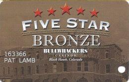 Bullwhackers Casino Black Hawk, CO Slot Card  - Light Brown Mag Stripe - Casino Cards