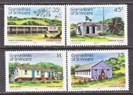 GRENADINES  OF  ST.  VINCENT  433-6  **  HOUSES  CANOUAN  ISLANDS - St.Vincent & Grenadines