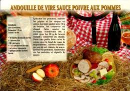 ANDOUILLE DE VIRE SAUCE POIVRE AUX POMMES...CPM. - Recettes (cuisine)