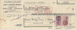 Fiscal    23  FELLETIN  ,Maillot   François  ,  Facture  Acquitté  De 1939  Timbrée - France