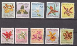 Nicaragua 1962 Mi Nr 61 - 70 Toeslag Flowers, Bloemen, Orchid,  ( Nr 68 Met Plakker, Rest Postfris) - Nicaragua