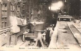 09 - PAMIERS,  USINE METALLURGIQUE - L'ACIERIE - LA COULEE DANS LES LINGOTIERES