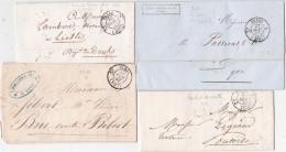 4 Lettres De PARIS CACHETS DE ROUTE - TAXE PORT DU - 25c Et 35c - Quingey Doubs - Marcophilie (Lettres)