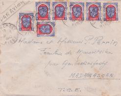 ALGERIE Lettre AVION > MADAGASCAR Affrt Blason 4f50 7 Exemplaires Obl CHERCHELL ALGER - Algeria (1924-1962)