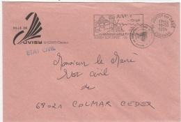 COS-L23 - FRANCE Lettre En Franchise Postale De La Mairie De JUVISY Flamme Illustrée Thème Observatoire C. Flammarion - Astrologie