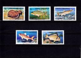 1975 -  TURKEY - TÜRKEI - **/MNH - FISHES , FISCHE , POISSONS Mi 2369/73  Yv 2138/42 - 1921-... Republic