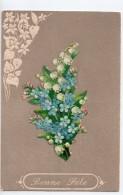 CPA.1906.Fantaisie.Carte Gaufrée Et Ajoutis. Bonne Fête.Bouquet De Fleurs.Bordure Et Bonne Fete Gaufrée Et Bouquet Collé - Fantasia