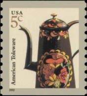 2002 USA American Toleware Coffeepot Coil Stamp Sc#2002 Coffee Pot Post - Drinks