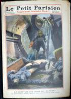 SCAPHANDRIER  GRAVURE COULEUR  DU PETIT JOURNAL 1910  SCAPHANDRIER DECOUVRANT LES CADAVRES DU PLUVIOSE - 1850 - 1899