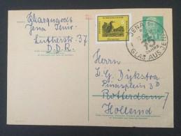 """1959 Wilhelm Pieck 10 Pfg Mit Beifrankierung Ausland Und Sonderstempel  ,,75 Jahre Glas Aus Jena """" - Postales - Usados"""