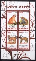 RWANDA - Nté 2010 - Bloc Feuillet De 4TP  - Felins - Oblit - Félins