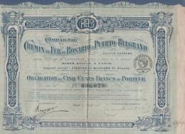 ARGENTINE ARGENTINA - OBLIGATION COMPAGNIE DU CHEMIN DE FER DE ROSARIO A PUERTO BELGRANO - 1918 - 3 COUPONS - Chemin De Fer & Tramway