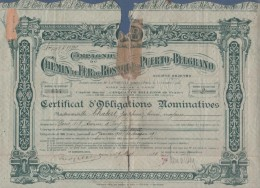 ARGENTINE ARGENTINA - CERTIFICAT D'OBLIGATIONS NOMINATIVES COMPAGNIE DU CHEMIN DE FER DE ROSARIO A PUERTO BELGRANO 1930 - Chemin De Fer & Tramway