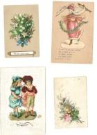 4 Petits Chromos (dont 3 Avec Ajoutis), Enfants, Fleur, Muguet, 1er Avril - Découpis