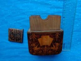 Boite A Cartes En Marqueterie Extremement Fine -tres Ancienne-a Restaurer - Art Populaire