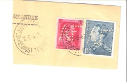 Belgique-Fragment-Perforé AF Avenir Familial-1942-St Josse-Joost-Ten-Noode-Timbres COB 428 Et 430 - 1934-51