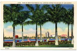 View Of West PALM  BEACH, FLORIDA, Looking Across The Waters Of Lake Worth  ( Amerique ) - Palm Beach
