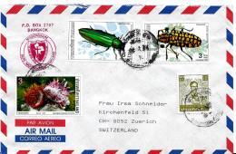 26673 - Enveloppe De Thailande Avec 2 Timbres Insectes - Insectes