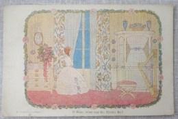 Litho Art Nouveau Illustrateur WILLEBEEK LE MAIR Fillette Fille Robe Princesse Harpe Decor Chambre Regardant Fenetre - Le Mair