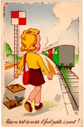 FANTAISIES. ENFANTS.BRILLANT SUR LA CARTE. TRAIN. OISEAU. RIEN NE SERT DE COURIR, IL FAUT PARTIR A POINT ! - Enfants