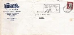 D 56 - Logo FRIGIDAIRE - Enveloppe Avec Facture - Flamme Lorient 1964 - 2ème Biennale Des Pêches. - 1921-1960: Periodo Moderno