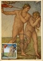 9961 Vaticano,  Painting Of Michelangelo 2002,   Sixtine Chapel, Adam And Eva - Cartes-Maximum (CM)