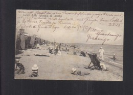 Cartolina Saluti Dalla Spiaggia Di Viserba 1914 - Rimini
