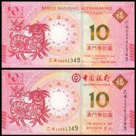 Macau Macao Set 2 PCS, 10 Patacas, 2015 Goat Zodiac, P-New, UNC>BNU - Macao