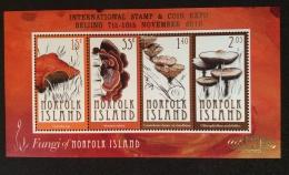 NORFOLK ISLANDS  2010  MUSHROOMS OVERPRINT ON SHEET BEIJING STAMP EXHIB  MNH - Norfolk Island