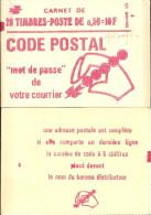 """CARNET 1664-C 9 Marianne De Bequet """"CODE POSTAL"""" Avec R.E. Fermé. Parfait état RARE. - Usage Courant"""