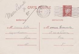 Entier Postal Yvert 515 CP1 Pétain 15/3/1943 Cachet Flamme Paris 115 Rue Des Saints Pères Pour EV - Ganzsachen