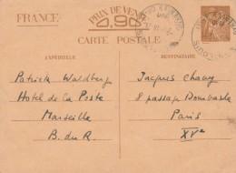 Entier Postal Yvert Sans Valeur CP1 Iris 14/11/1940 Cachet Mont Louis Pyrénées Orientales Pour Paris - Enteros Postales